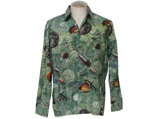 What is the name of those large collared button up shirts popular retro 70s print disco shirt 70s space odyssey mens shaded green with brown grays blue photo print disco shirt with craters of the moon astronauts sciox Image collections