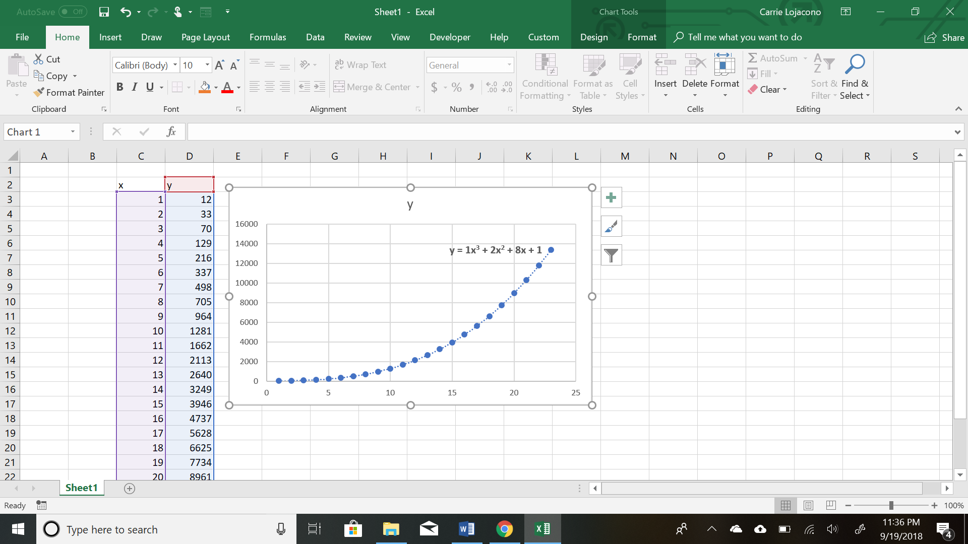 How to pull a polynomial trendline equation off a chart and use it ...