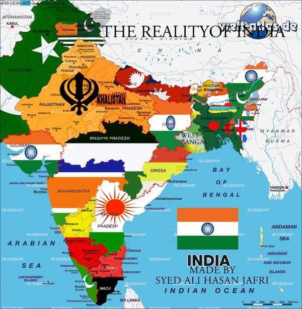 Real Map Of India How do India's neighbours see India's map?   Quora Real Map Of India