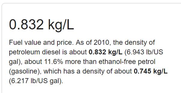 20 000 kg to liters