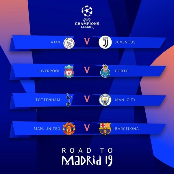 What Are Your Thoughts About The 2019 Uefa Champions League Quarter Finals Draw Juventus Vs Ajax Fc Barcelona Vs Manchester United Manchester City Vs Tottenham Hotspur Liverpool Vs Porto Quora