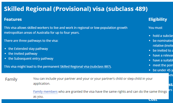 Who are the eligible family members of the Visa Subclass 489