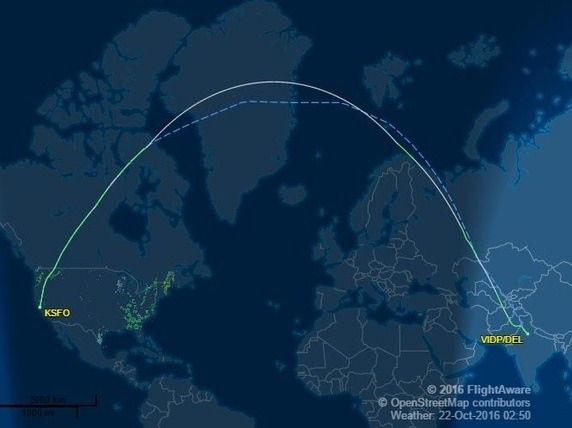 What flight route deviates the most from a great circle path? - Quora
