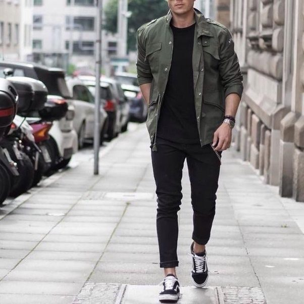 What color pants/jeans go well with an olive green shirt for men ...