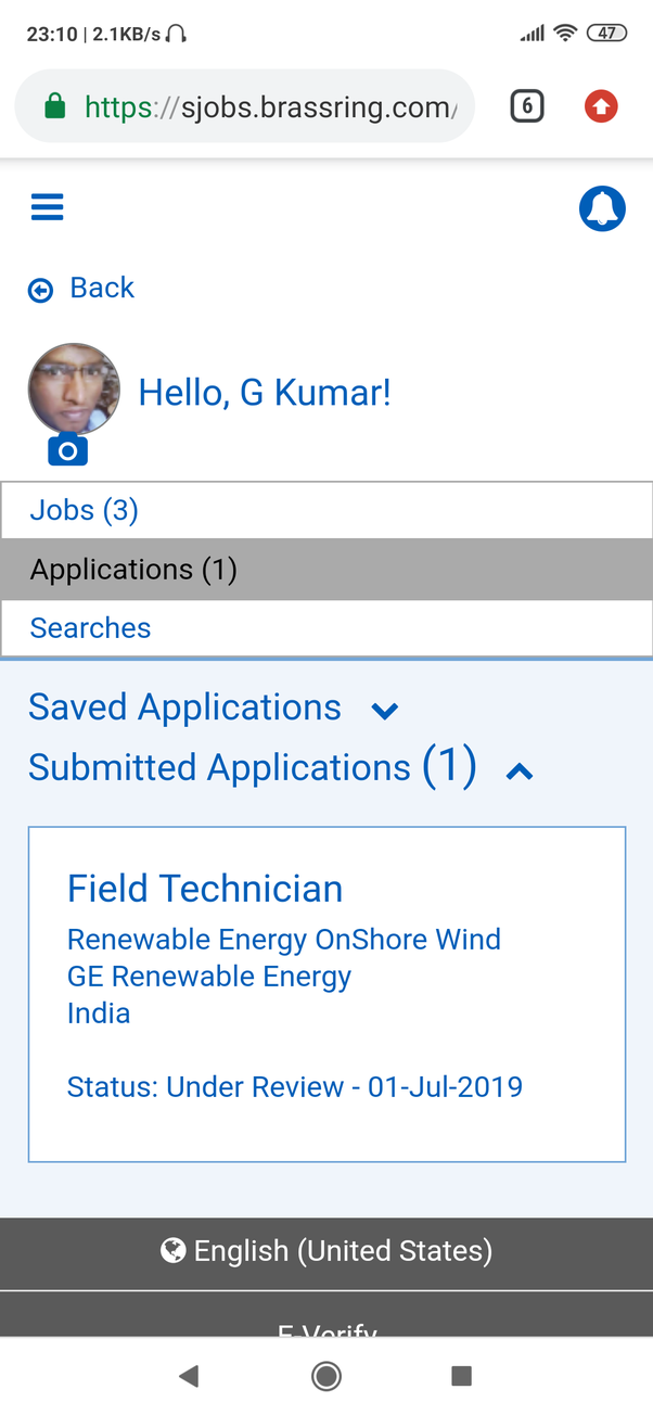 "What is the meaning of ""your resume under review"" in GE Application"