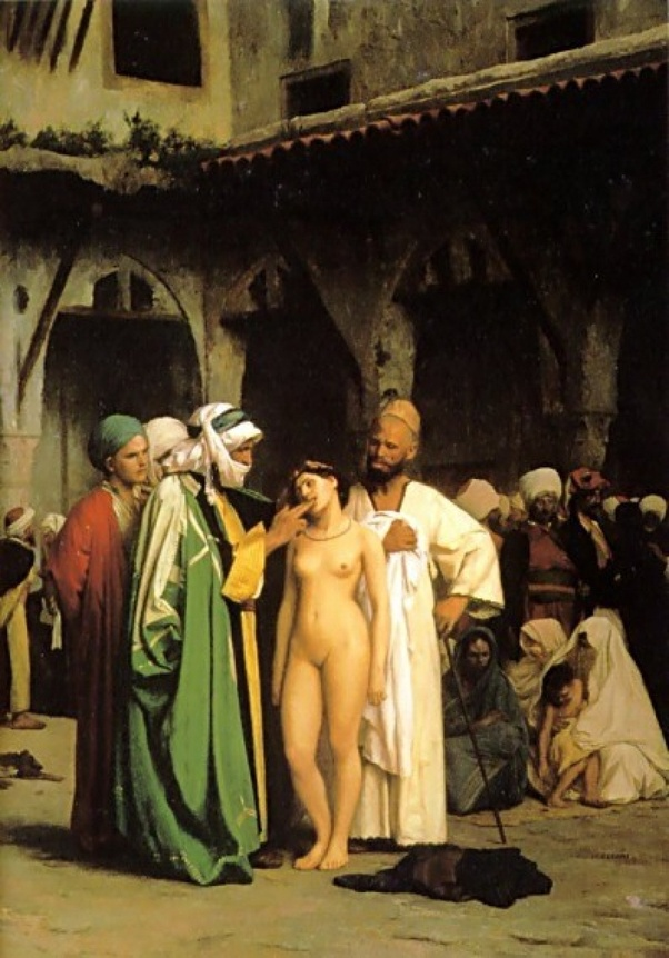 Jean-Leon Gerome's Slave Market oil on canvas circa 1866
