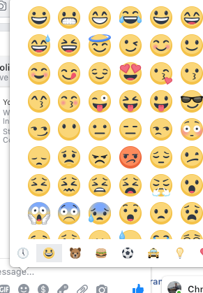 What does the grayed out smiley face with a plus sign on Messenger