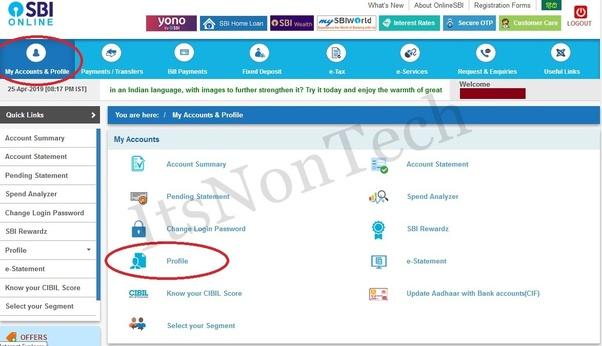 sbi net banking update email address