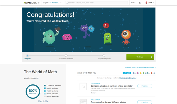 Just finished getting a 100% through Khan Academy