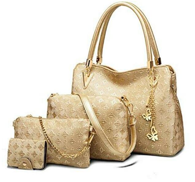 6 Vezela 4 Pieces Pu Leather Shoulder Bags For Women Golden