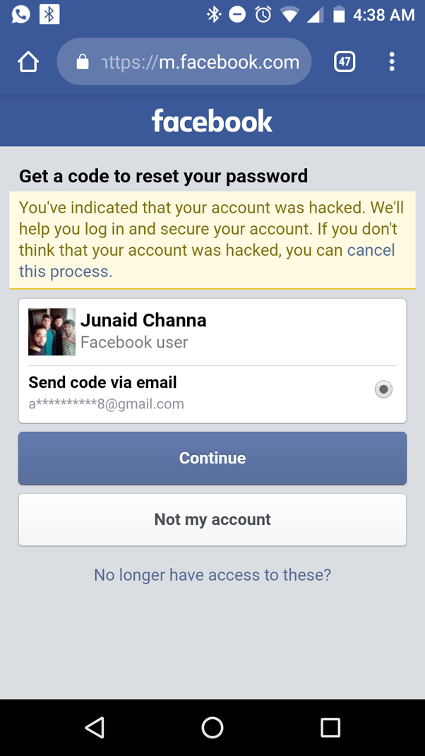 They have send me the recovery code for my Facebook account