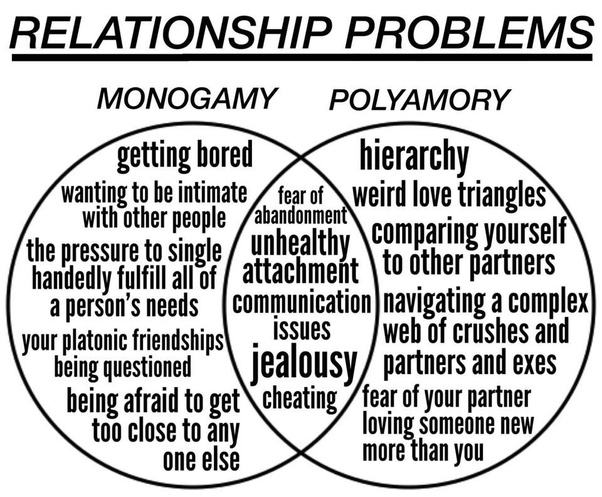 monogamy and polyamory this is not supposed to be indicative of how everyone views the differences its just an example albeit one with examples that