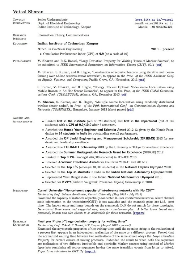what does the resume of someone who attended an iit look