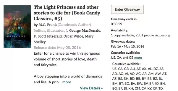 Book giveaways goodreads