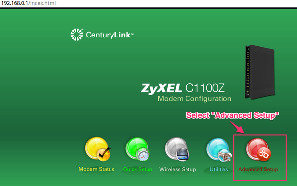How to access a CenturyLink router settings page using the IP