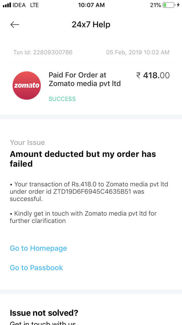How to complain against Zomato regarding the food I ordered