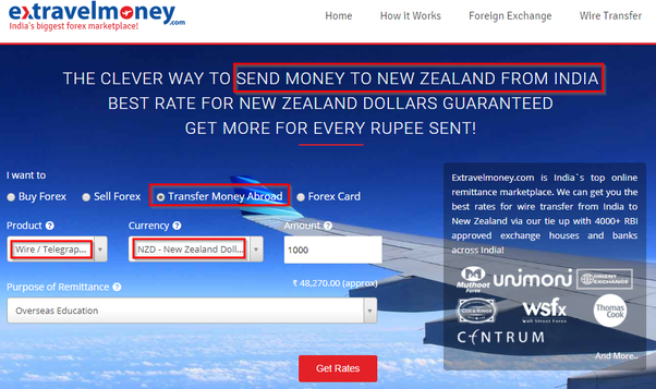 For Example If Your Location Is Bangalore You Can Compare The Total Cost Of Money Transfer To New Zealand By Diffe Exchange Houses Present