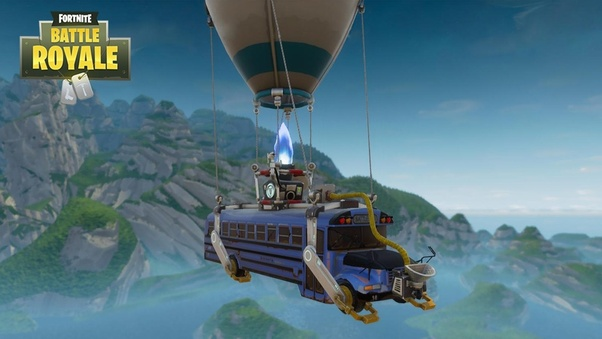 the battle bus is mainly blue with some accents to make it look more menacing it s currently decorated with birthday accents to celebrate fortnite s first - what is the fortnite