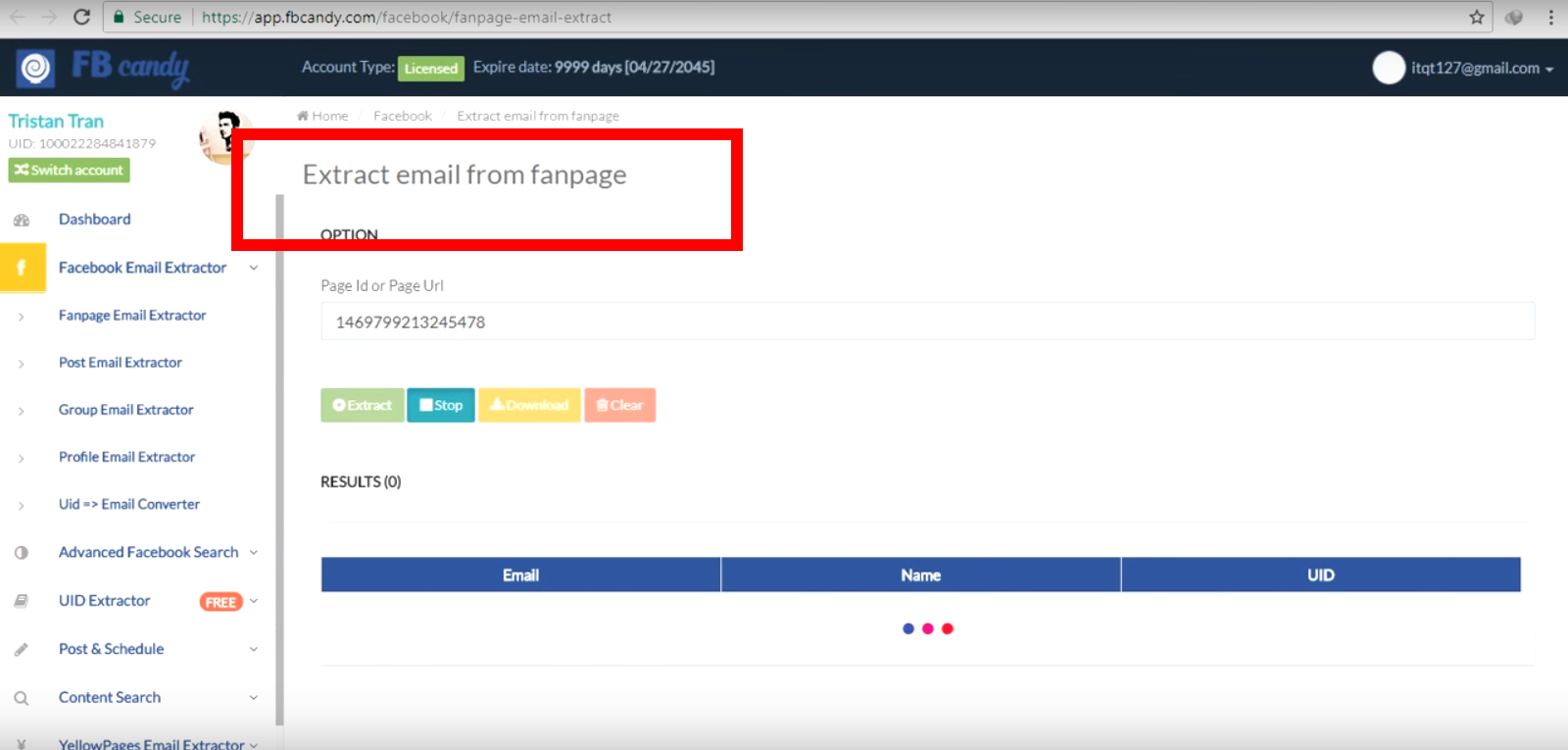 How to extract email addresses from a Facebook page for a