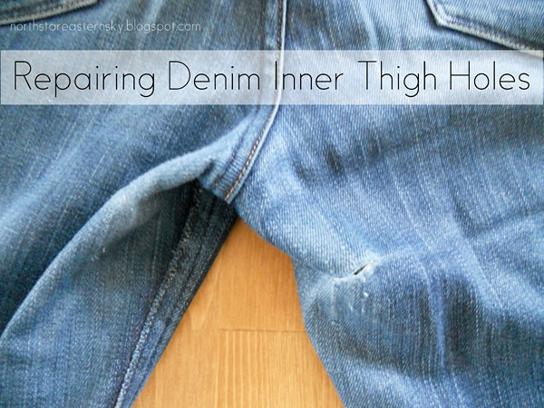 how to patch jeans inner thigh by hand