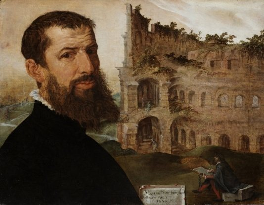 Painted In The Mannerist Style Of Late Renaissance It Shows Artist Against Backdrop Colosseum Rome Surely One Most Famous