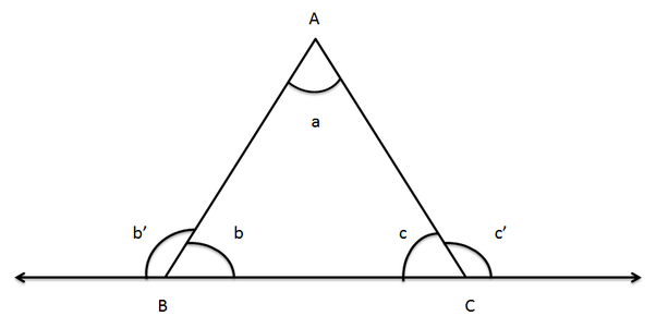 A,b,c   Internal Angles At Vertices A,B,C Respectively Bu0027,cu0027   External  Angles At Vertices B,C Respectively