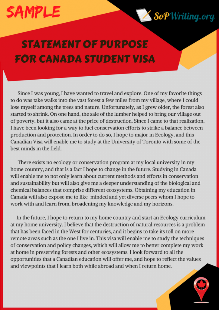 How to convince the Canadian embassy in an SOP (statement of