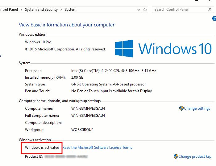 microsoft windows 10 license check