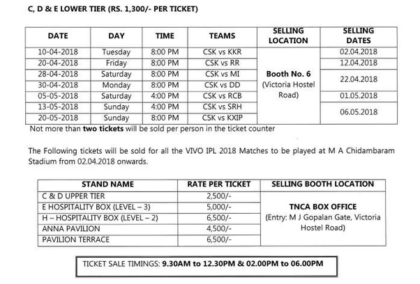 What is the price of a ticket in the Chennai IPL 2018? - Quora