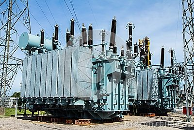 What does a high voltage step down transformer (as at a
