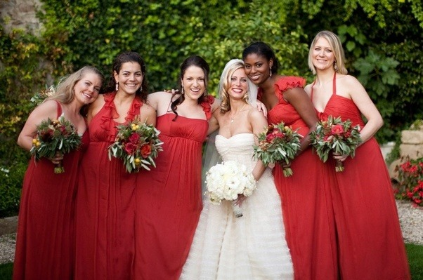 These Bridesmaids Look Greatthe Bride Again Picked A Great Color That Works With All Her Skin And Hair Tones But Each Bridesmaid Is