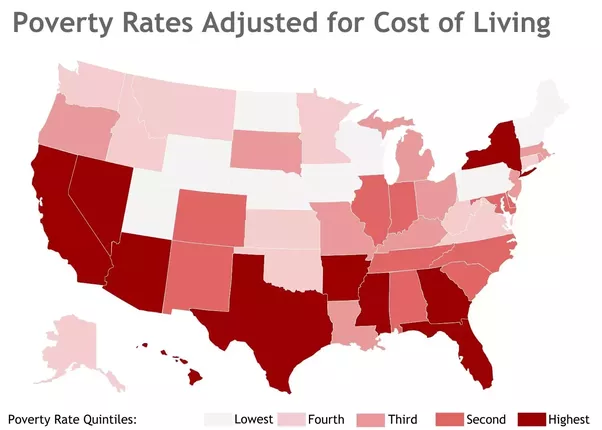 Why are 8 out of 10 of the poorest us states republican Cost of living in different states in usa