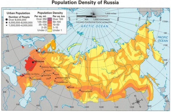 5 most ethnic russians live in europe while some regions of arctic and south russia are still mainly inhabited by native populations