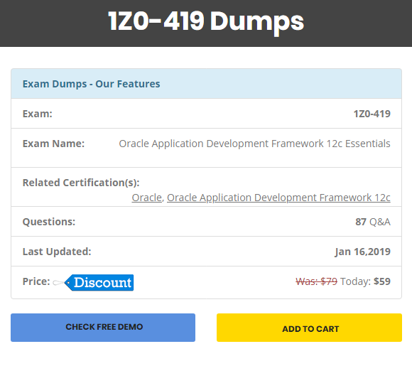 How to get Oracle ADF 12c dumps for the exam code: 1Z0-419 - Quora