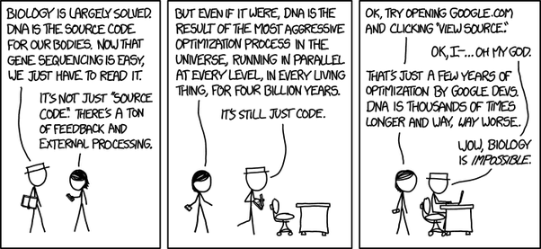 Why is it that fully sequenced human dna takes only 32gb while because dna is not source code this analogy is unspeakably horrible yet it seems to persist amongst computer scientists and other technophiles who are malvernweather Gallery