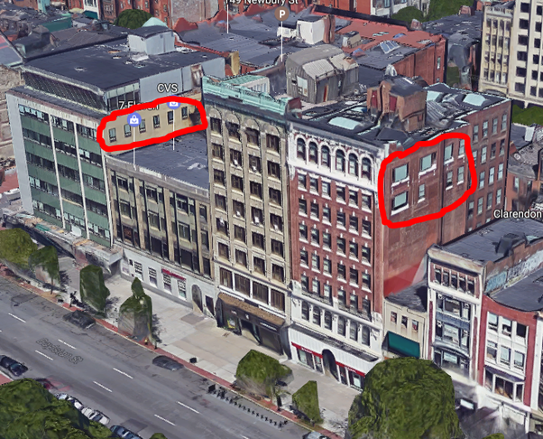 Lot Line Windows In Buildings Facing Boston S Copley Square  Courtesy Of Google Maps In NYC Can A New Building Be Built So Close That The