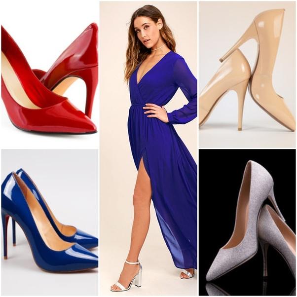 151e65b4f13 What colour shoes with a royal blue cocktail dress  - Quora