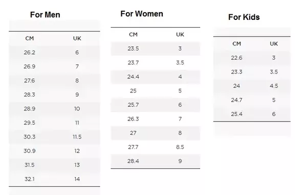 Below is the conversion chart from cm to UK. More about Shoe size