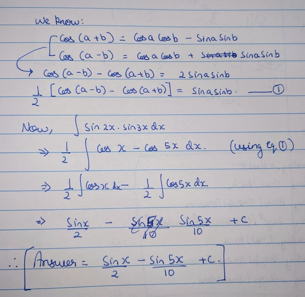 What Is The Integral Of Sin2x.sin3x?