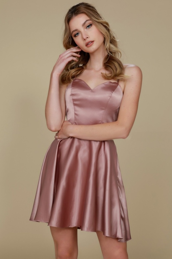 This kind of dress looks stunning on everyone. Short Homecoming Gown with  sweetheart neckline, solid color satin fabric dress with no sleeves,  lace-up back ...