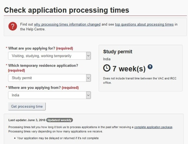 How much time does a student visa for Canada take to process in