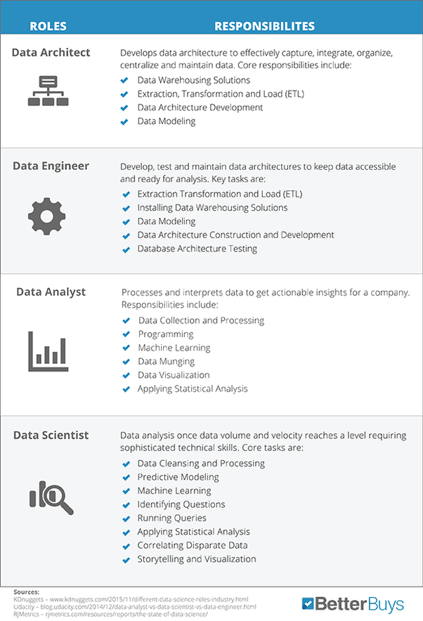 What is the difference between a data analyst and a data scientist