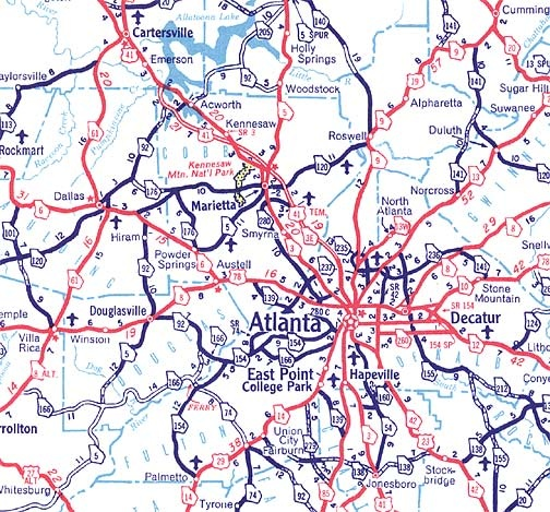 Highway Map Of Georgia.How Did Highways Before The Interstate System Exist In Atlanta