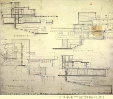 The Final Drawings Of Fallingwater Shown Here In Plan, Section And  Elevation Approximated The Single Sheet Of Drawings Wright Drew Up In A Few  Hours.