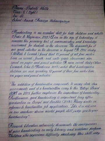 The Handwriting Of Prakriti Malla Class VIII Student From Nepal Can Be Recognised As Best Ever In World