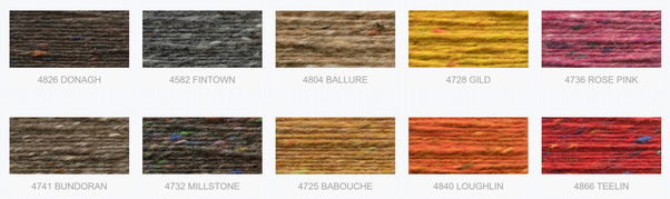 Screenshot from the Donegal Yarns website, showing 10 amples of their Aran Tweed wool in plain solid colours, enlivened with dotted yarn neps in complementary and contrasting colours.
