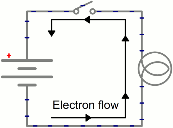 circuit diagram 12v car battery charger how do electrons flow in a circuit? do the electrons ... circuit diagram battery direction