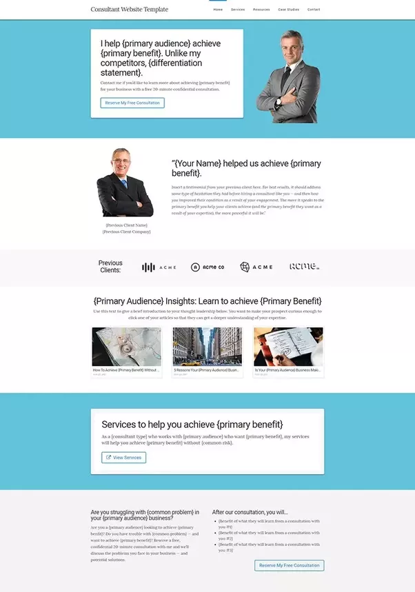 you can get the homepage template itself for free and the other pages are up as a live website so you can see how an effective consulting website looks and