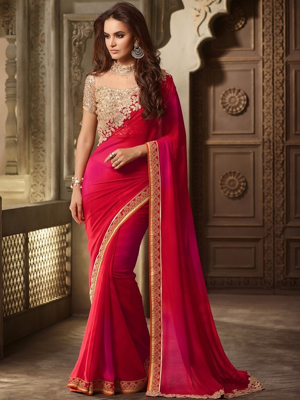 f7cdb86ba6a3a You can mix this red gorgeous saree with different colored blouses. You can  wear black