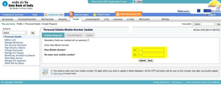 Mobile change in request number pdf form sbi